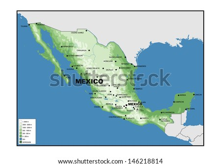 Physical Map Mexico Stock Photo (Edit Now) 146218814 - Shutterstock