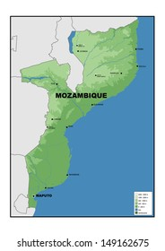 Physical map of Mozambique