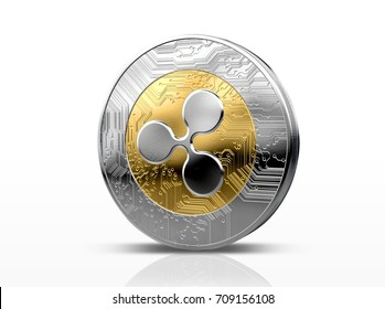 A physical ripple, cryptocurrency in gold and silver coin form on a dark studio background- 3D render