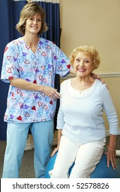 Physical therapist and senior patient during workout.