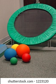 Physical therapy balls and trampoline