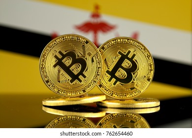 Physical version of Bitcoin and Brunei Flag. Close up.