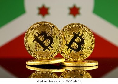Physical version of Bitcoin and Burundi Flag. Close up.