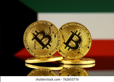 Physical version of Bitcoin and Kuwait Flag. Close up.