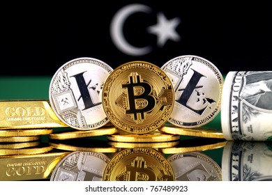 Physical version of Bitcoin, Litecoin, gold, US Dollar and Libya Flag. Conceptual image for investors in cryptocurrency, gold and dollars.