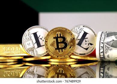 Physical version of Bitcoin, Litecoin, gold, US Dollar and Kuwait Flag. Conceptual image for investors in cryptocurrency, gold and dollars.