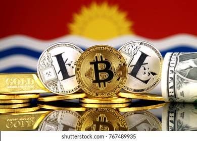 Physical version of Bitcoin, Litecoin, gold, US Dollar and Kiribati Flag. Conceptual image for investors in cryptocurrency, gold and dollars.
