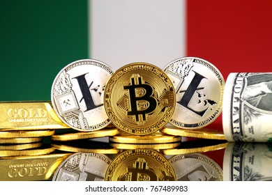 Physical version of Bitcoin, Litecoin, gold, US Dollar and Italy Flag. Conceptual image for investors in cryptocurrency, gold and dollars.