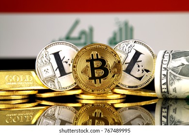 Physical version of Bitcoin, Litecoin, gold, US Dollar and Iraq Flag. Conceptual image for investors in cryptocurrency, gold and dollars.