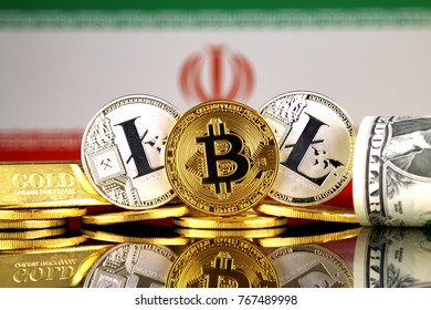 Physical version of Bitcoin, Litecoin, gold, US Dollar and Iran Flag. Conceptual image for investors in cryptocurrency, gold and dollars.