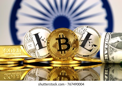 Physical version of Bitcoin, Litecoin, gold, US Dollar and India Flag. Conceptual image for investors in cryptocurrency, gold and dollars.