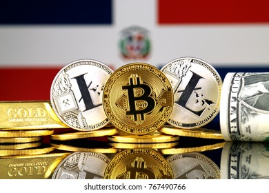 Physical version of Bitcoin, Litecoin, gold, US Dollar and Dominican Republic Flag. Conceptual image for investors in cryptocurrency, gold and dollars.