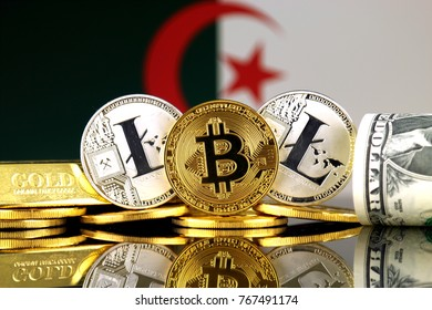 Physical version of Bitcoin, Litecoin, gold, US Dollar and Algeria Flag. Conceptual image for investors in cryptocurrency, gold and dollars.