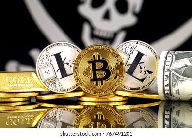 Physical version of Bitcoin, Litecoin, gold, US Dollar and Pirate Flag. Conceptual image for investors in cryptocurrency, gold and dollars. Risk, safety and security.