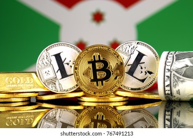 Physical version of Bitcoin, Litecoin, gold, US Dollar and Burundi Flag. Conceptual image for investors in cryptocurrency, gold and dollars.