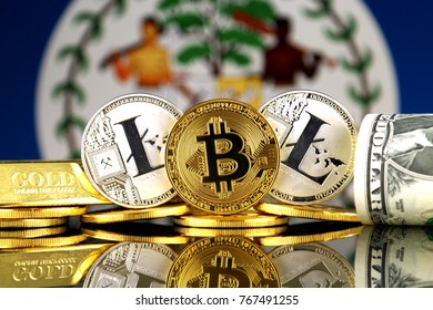 Physical version of Bitcoin, Litecoin, gold, US Dollar and Belize Flag. Conceptual image for investors in cryptocurrency, gold and dollars.