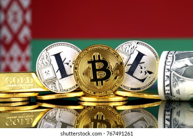 Physical version of Bitcoin, Litecoin, gold, US Dollar and Belarus Flag. Conceptual image for investors in cryptocurrency, gold and dollars.