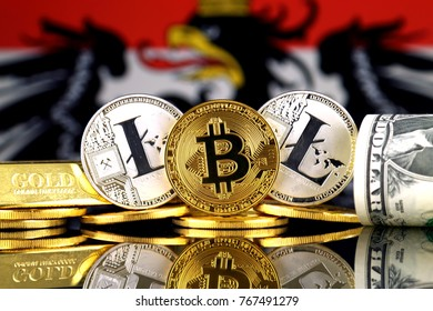 Physical version of Bitcoin, Litecoin, gold, US Dollar and Austria Flag. Conceptual image for investors in cryptocurrency, gold and dollars.