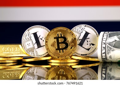 Physical version of Bitcoin, Litecoin, gold, US Dollar and Thailand Flag. Conceptual image for investors in cryptocurrency, gold and dollars.