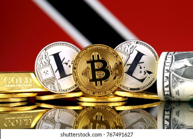 Physical version of Bitcoin, Litecoin, gold, US Dollar and Trinidad and Tobago Flag. Conceptual image for investors in cryptocurrency, gold and dollars.