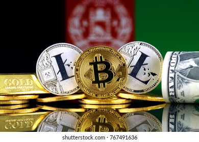 Physical version of Bitcoin, Litecoin, gold, US Dollar and Afghanistan Flag. Conceptual image for investors in cryptocurrency, gold and dollars.