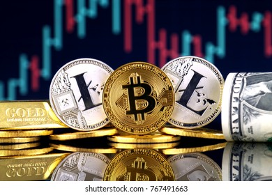 Physical version of Bitcoin and Litecoin, gold, US Dollar. Conceptual image for investors in cryptocurrency, gold and dollars.