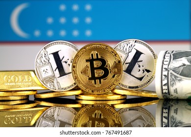 Physical version of Bitcoin, Litecoin, gold, US Dollar and Uzbekistan Flag. Conceptual image for investors in cryptocurrency, gold and dollars.
