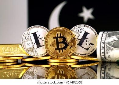 Physical version of Bitcoin, Litecoin, gold, US Dollar and Pakistan Flag. Conceptual image for investors in cryptocurrency, gold and dollars.