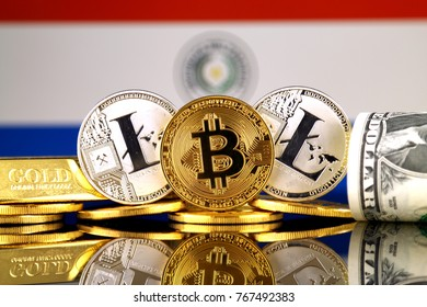 Physical version of Bitcoin, Litecoin, gold, US Dollar and Paraguay Flag. Conceptual image for investors in cryptocurrency, gold and dollars.