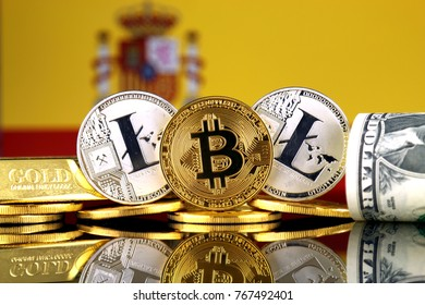 Physical version of Bitcoin, Litecoin, gold, US Dollar and Spain Flag. Conceptual image for investors in cryptocurrency, gold and dollars.