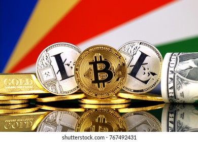 Physical version of Bitcoin, Litecoin, gold, US Dollar and Seychelles Flag. Conceptual image for investors in cryptocurrency, gold and dollars.