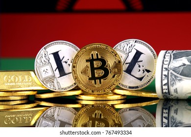 Physical version of Bitcoin, Litecoin, gold, US Dollar and Malawi Flag. Conceptual image for investors in cryptocurrency, gold and dollars.
