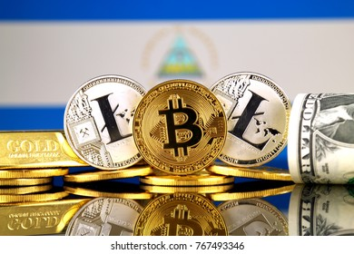 Physical version of Bitcoin, Litecoin, gold, US Dollar and Nicaragua Flag. Conceptual image for investors in cryptocurrency, gold and dollars.
