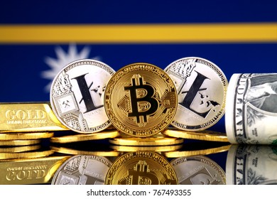 Physical version of Bitcoin, Litecoin, gold, US Dollar and Nauru Flag. Conceptual image for investors in cryptocurrency, gold and dollars.