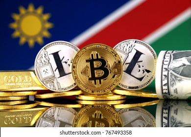Physical version of Bitcoin, Litecoin, gold, US Dollar and Namibia Flag. Conceptual image for investors in cryptocurrency, gold and dollars.