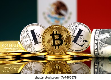 Physical version of Bitcoin, Litecoin, gold, US Dollar and Mexico Flag. Conceptual image for investors in cryptocurrency, gold and dollars.