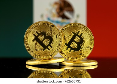 Physical version of Bitcoin and Mexico Flag. Close up.