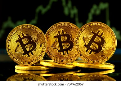 Physical version of Bitcoin, new virtual money. Conceptual image for worldwide cryptocurrency and digital payment system called the first decentralized digital currency.