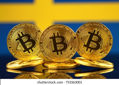 Physical version of Bitcoin (new virtual money) and Sweden Flag.