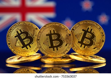 Physical version of Bitcoin (new virtual money) and New Zealand Flag.