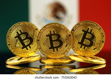 Physical version of Bitcoin (new virtual money) and Mexico Flag.