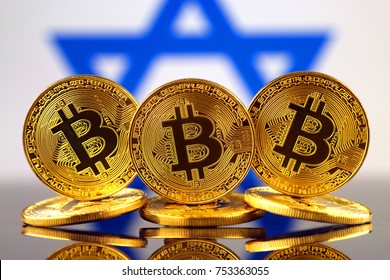 Physical version of Bitcoin (new virtual money) and Israel Flag.