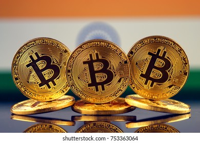 Physical version of Bitcoin (new virtual money) and India Flag.