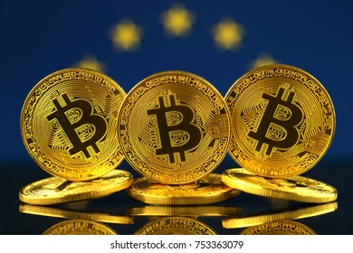 Physical version of Bitcoin (new virtual money) and EU Flag.