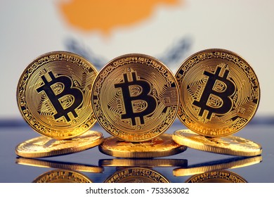 Physical version of Bitcoin (new virtual money) and Cyprus Flag.