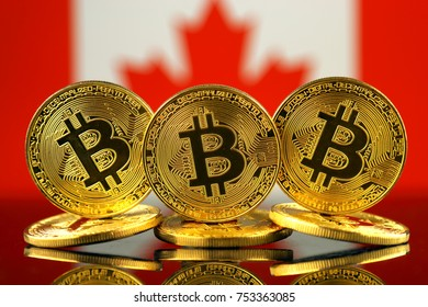 Physical version of Bitcoin (new virtual money) and Canada Flag.