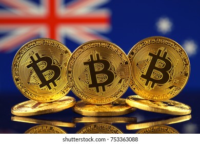 Physical version of Bitcoin (new virtual money) and Australia Flag.