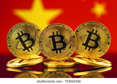 Physical version of Bitcoin (new virtual money) and China Flag.