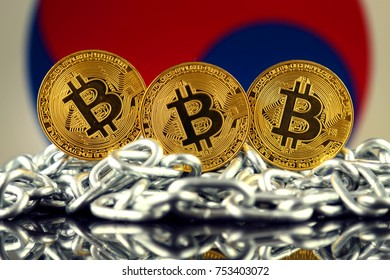 Physical version of Bitcoin (new virtual money), chain and South Korea Flag.