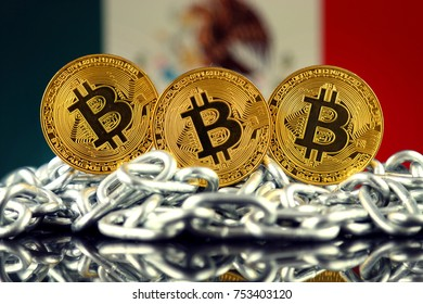 Physical version of Bitcoin (new virtual money), chain and Mexico Flag.